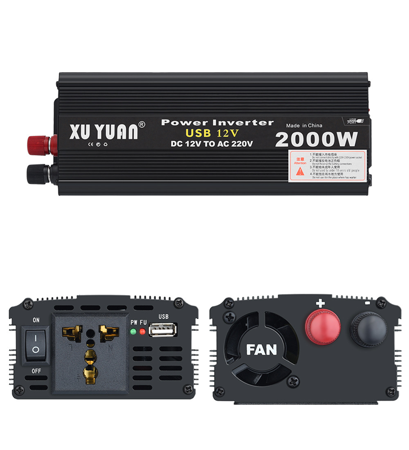 12V/<font><b>24V</b></font> to AC 220V <font><b>2000W</b></font> Car <font><b>Inverter</b></font> Power Voltage Transformer Pure Sine Wave Rechargeable Power <font><b>Inverter</b></font> Converter With Fan image