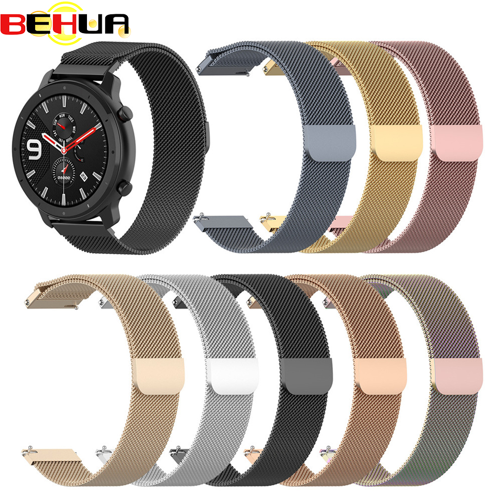 Metal Stainless Steel Strap For Xiaomi Huami Amazfit GTR 42mm 47mm Bracelet Wrist Band For Huami Amazfit Bip BIT Youth Watchband