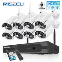MISECU 8CH 1080P CCTV bezprzewodowy System Audio nagrywać 4/8 sztuk 2.0MP IR zewnętrzna P2P Wifi zabezpieczenia ip kamera wideo zestaw do nadzorowania