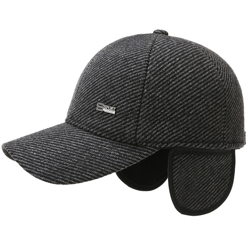 HT3814 Autumn Winter Cap Men Adjustable Striped Baseball Cap New Male Wool Baseball Hat Thick Warm Father Dad Hat with Ear Flaps
