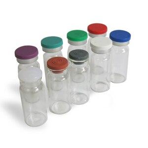 Image 1 - 500 × 10ミリリットルクリアアンバー注入ガラスバイアルとプラスチックアルミCap1/3オンス透明ガラスボトル10ccガラス容器