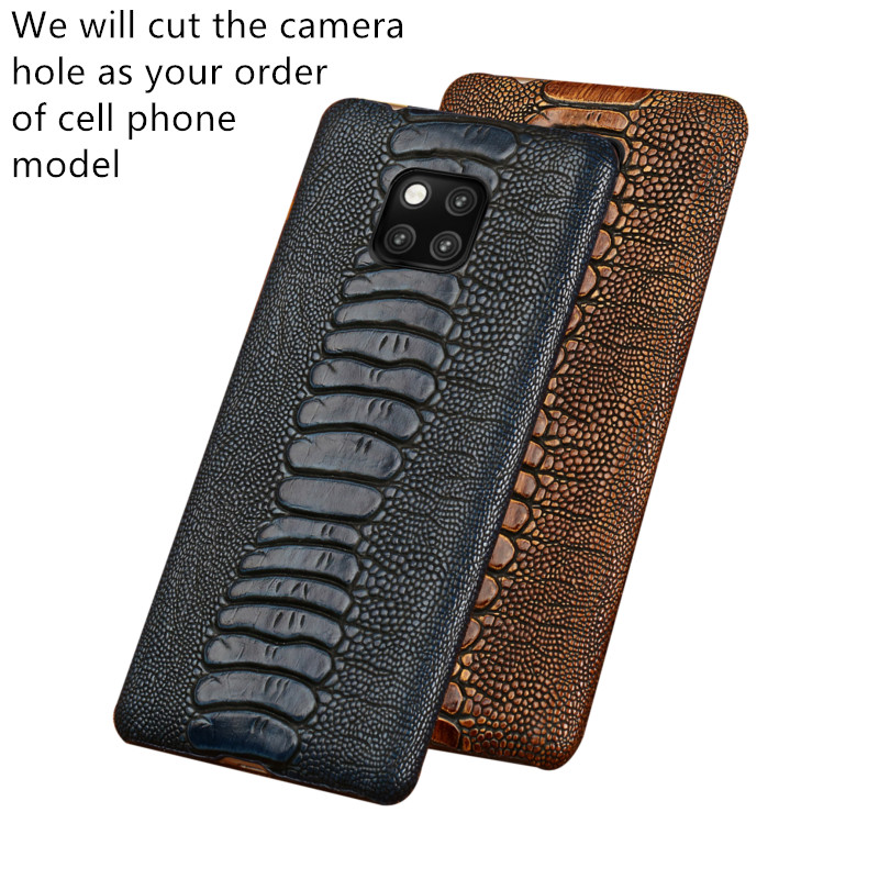 Ostrich grain genuine leather half wrapped hard case for BlackBerry KEYone/Blackberry Key2/BlackBerry Priv phone cover back capa(China)
