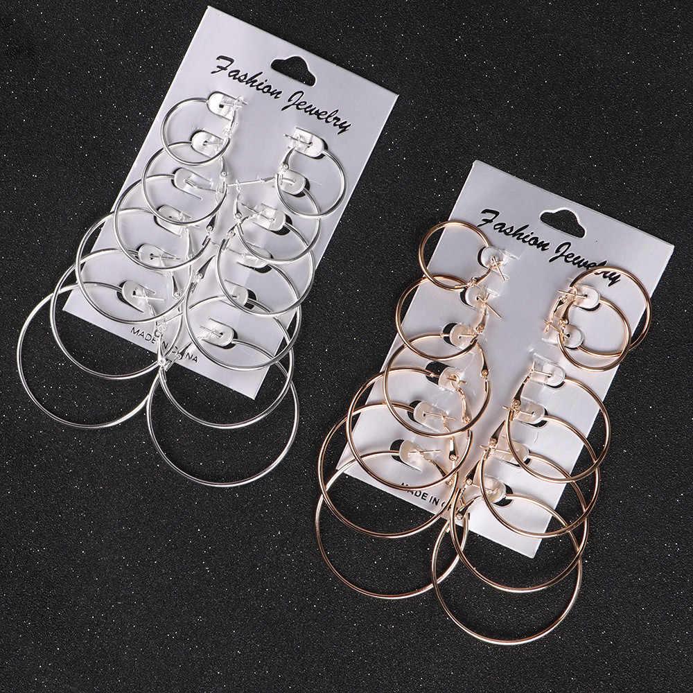 6 คู่/เซ็ต Gold Silver Vintage Dangle แหวนวงกลมขนาดใหญ่ต่างหูผู้หญิงเครื่องประดับ Steampunk hoop ต่างหูหู cilp ใหม่