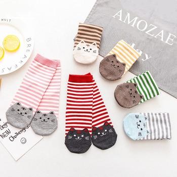 New Casual Harajuku Socks Women Cat Prints Cartoon Animals Pattern Striped Cotton Femme Floor Meias Kawaii