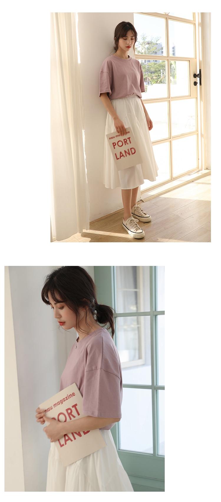 Hef1fccb32df446288d20df7fe83565f02 - Summer O-Neck Short Sleeves Minimalist Loose Basic T-Shirt