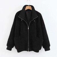 Chic Solid Pockets Coats Women Fashion Winter Faux Lamb Fur Jackets Elegant Ladies Long Sleeve Coats