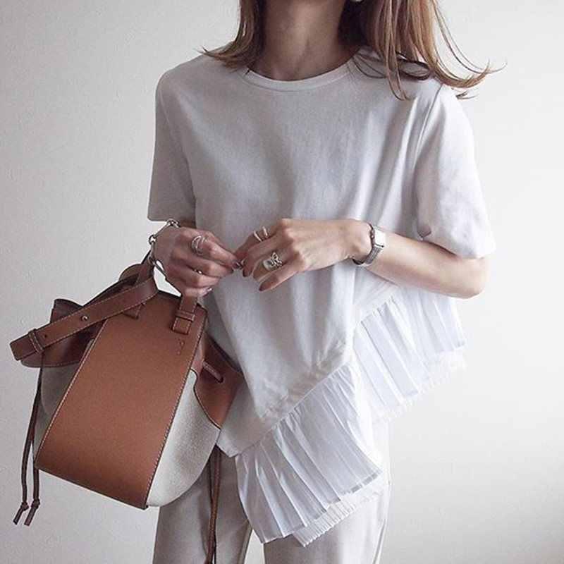 Casual Patchwork asymétrique femmes T-shirts hauts femme mince à manches courtes mode blanc t-shirt automne 2019 automne coréen T-shirts