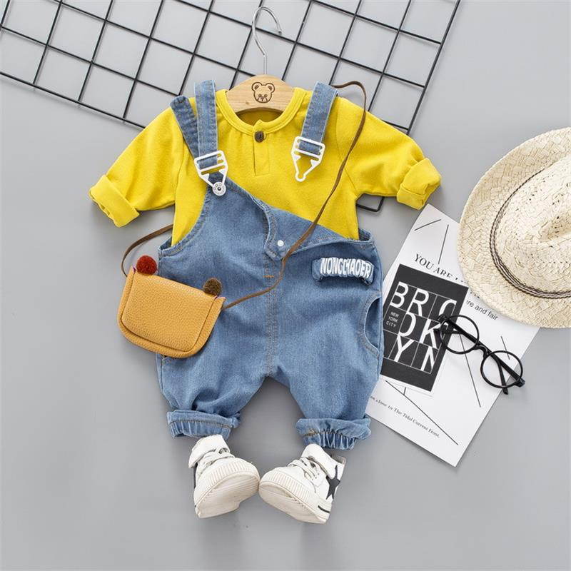 2020 Spring Baby Girls Boy Clothes Suit Kids Baby Casual Long Sleeve T-Shirt+Denim Overalls Newborn Clothes Set Toddler Clothing