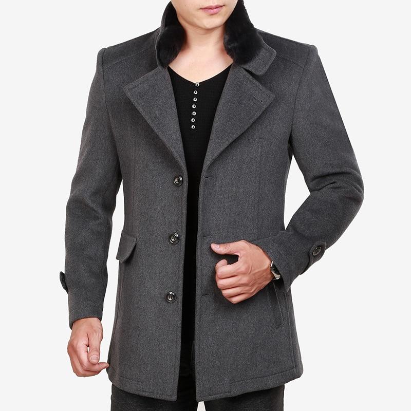 Men Grey Woolen Coat Winter Clothing Thick Wool Blend Coat Casual Faux Fur Detachable Collar Oversized Long Gray Overcoat Male