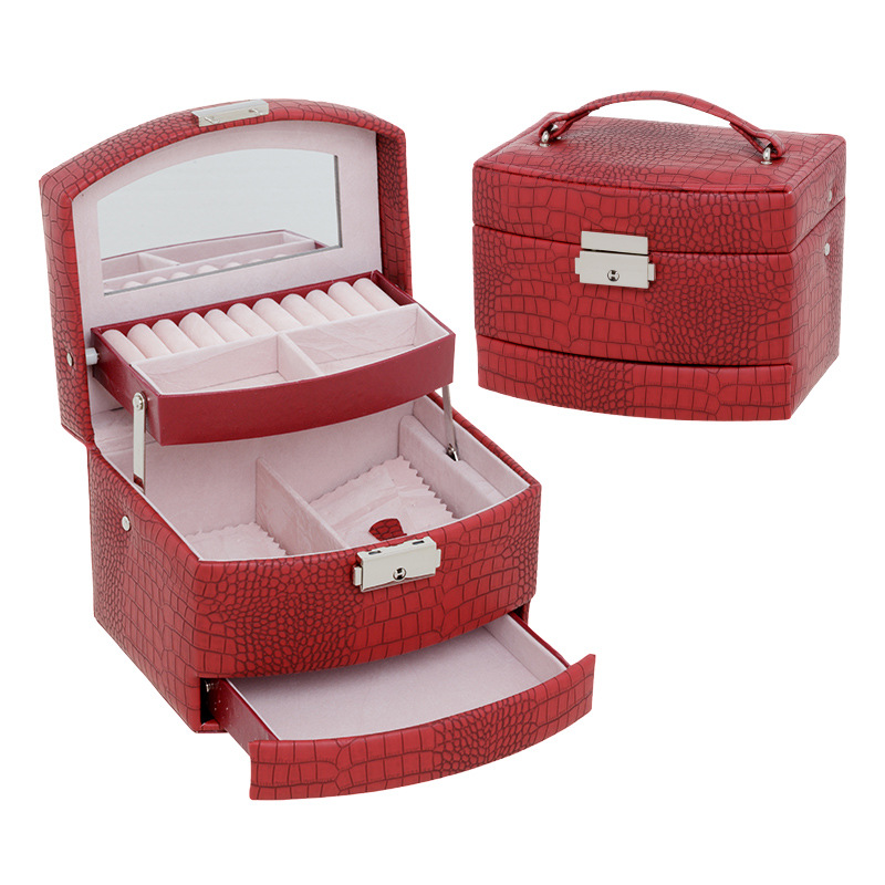 Three Layer Multi-Capacity Storage Jewelry Box Cosmetic Box Crocodile Pattern Leather Jewelry Box Accessories Storage Box Wholes