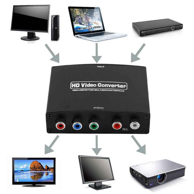 1080P HD HDMI إلى RGB مكون (YPbPr) فيديو + R/L محول الصوت UK/AU/EU/UK محول قابس HD TV CK HDMI إلى RGB محول