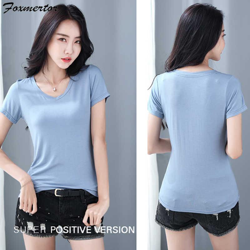 Camisetas de algodón suave para mujer, camiseta de manga corta de verano para mujer, camisetas casuales clásicas de gran elasticidad, camisetas de talla grande 9 colores