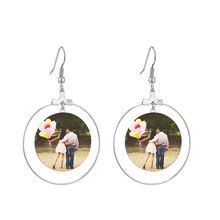 Korean  Cute Photo Earrings Engrave Name Jewelry Custom Coil Hook Picture Earring Wedding Gift  for Women Girl Accessories