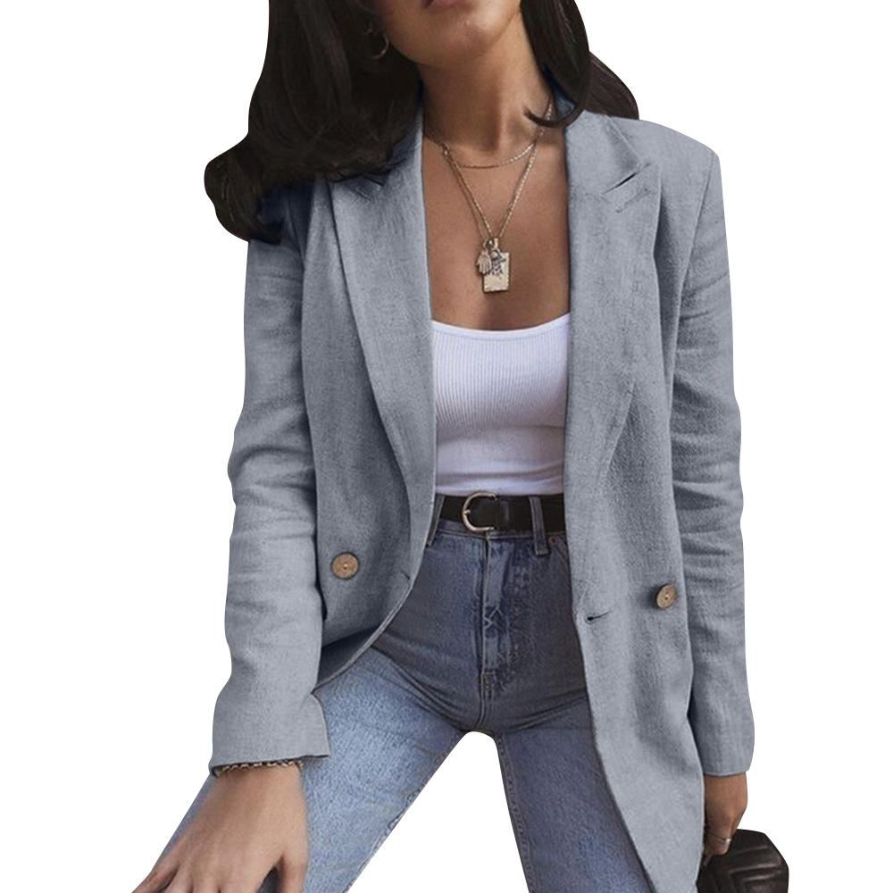 Casual long-sleeved blazer Office style women solid color lapel buttons Professional blazer Workplace sleek suit D30