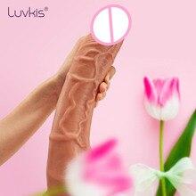 Luvkis consolador enorme de 12 pulgadas para mujer, pene grande con bolas 3D, Phalos realistas para mujer, ventosa de silicona de doble capa, insertable de 230cm