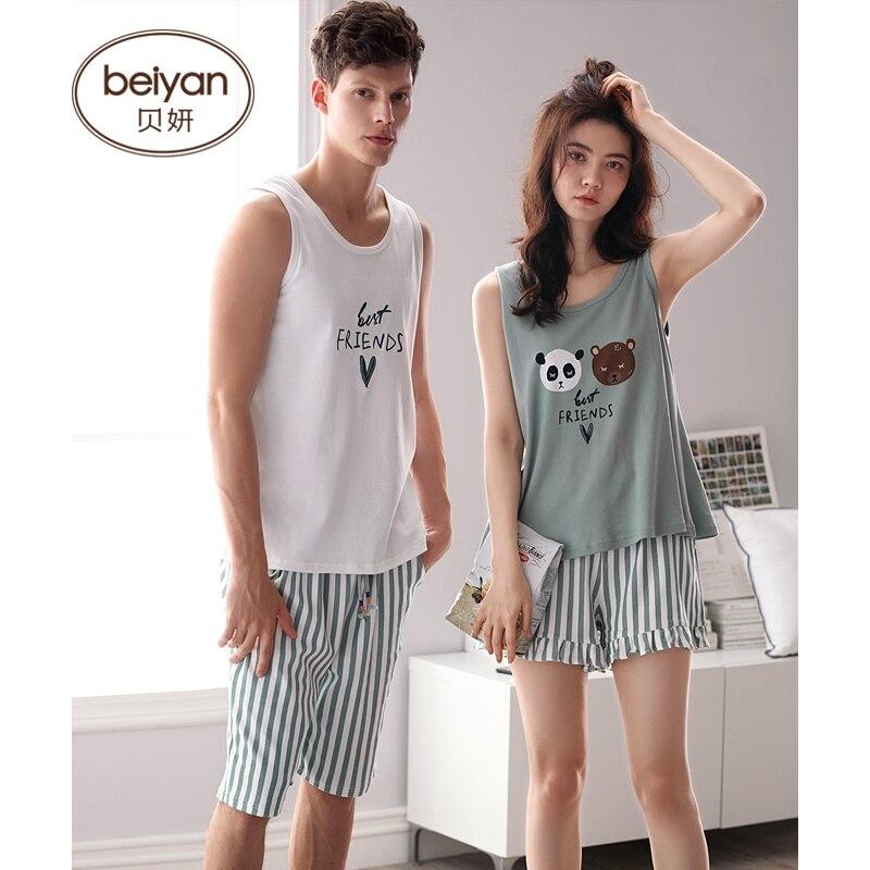 Couples Summer Pajamas Cute Cartoon Camisole Cotton Leisurewear Lovers Sleeveless Suit
