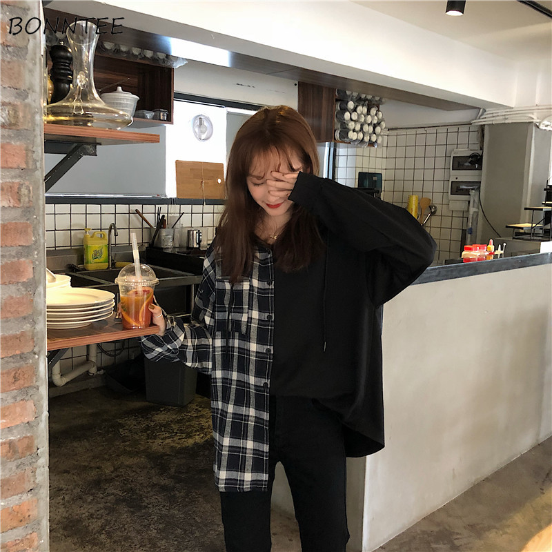 Shirts Women Irregular Loose Plaid Fake Two Piece Hooded Leisure Womens Long Sleeve Harajuku Blouses Pockets BF Korean Style Top