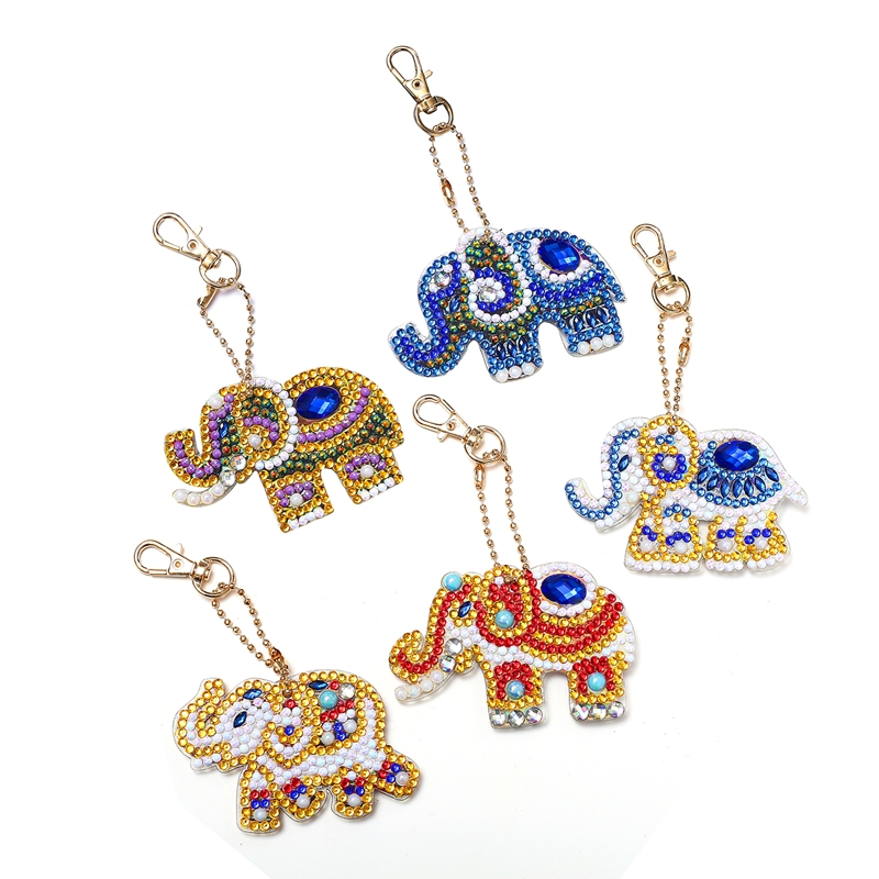 5Pcs Acrylic Board Diy Diamond Painting Elephant Keychain Tools Round Shinny Special Diamond Woman Girl Bag Accessories