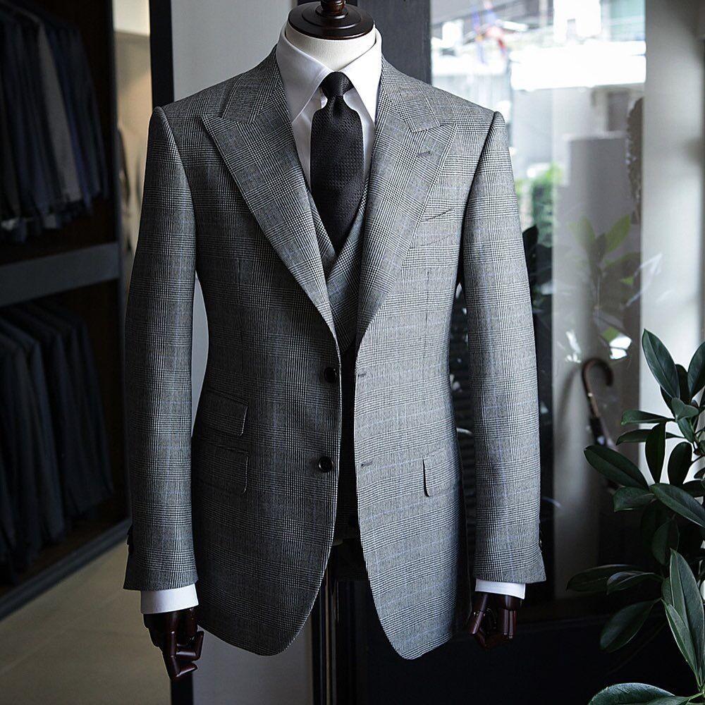 Mens Business Suits Slim Fit Plaid Wool Blazer Vest Pants Formal Office Jacket for Wedding Party Suit Man Business 2020