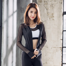 New Long-sleeved Yoga Clothes Womens Zipper Jacket Stand Collar Sports Fitness Running Wear