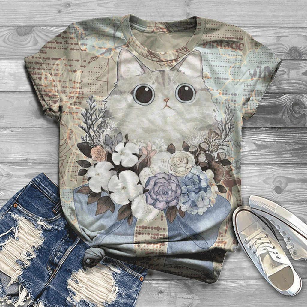 Mode Tshirt Vrouwen Plus Size Korte Mouw 3D Animal Gedrukt O-hals Tops Tee Esthetische Ropa Mujer Top Vrouwen Harajuku T shirt