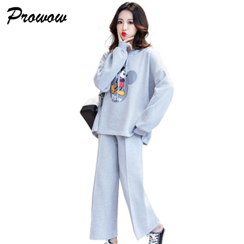 Plus Size Mickey Women Clothing Set Cartoon Sweatshirt Tops+Trousers Tracksuits Women Pullover Sets Women Clothing Suit