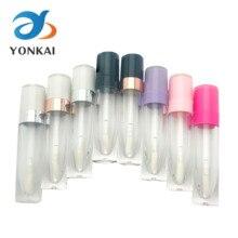 Tubos vacíos de brillo de labios ABS de 5ML, tubo plástico para brillo labial con varita, tapa blanca, contenedor de esmalte de labios, embalaje de cosméticos, 30/50/100 Uds.