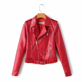 New Arrival brand Winter Autumn Motorcycle leather jackets yellow leather jacket women leather coat  slim PU jacket Leather 8