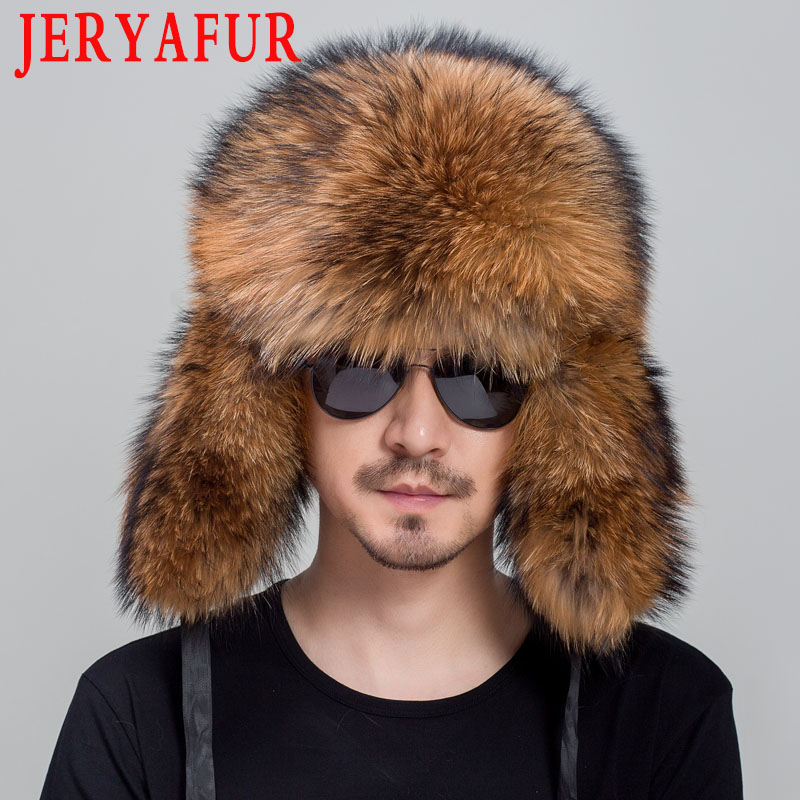 JERYAFUR Genuine Fox Fur Hats For Men Real Raccoon Fur Lei Feng Caps Russian Winter Men Ear Hats For Women hat