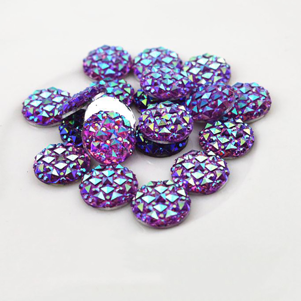 New Fashion 40pcs 12mm Purple AB Color Flat Back Resin Cabochons Cameo  G6-25