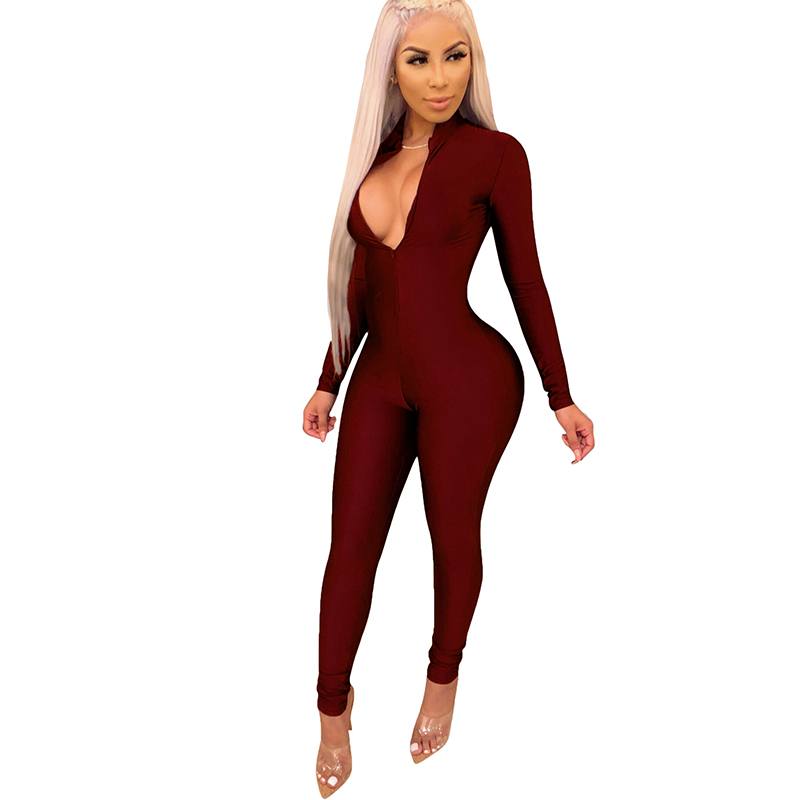 Sexy Romper Women Bandage Bodycon Jumpsuits Elegant V neck Hollow Out Skinny Playsuits Long Sleeve Autumn Women Overalls Mono in Jumpsuits from Women 39 s Clothing