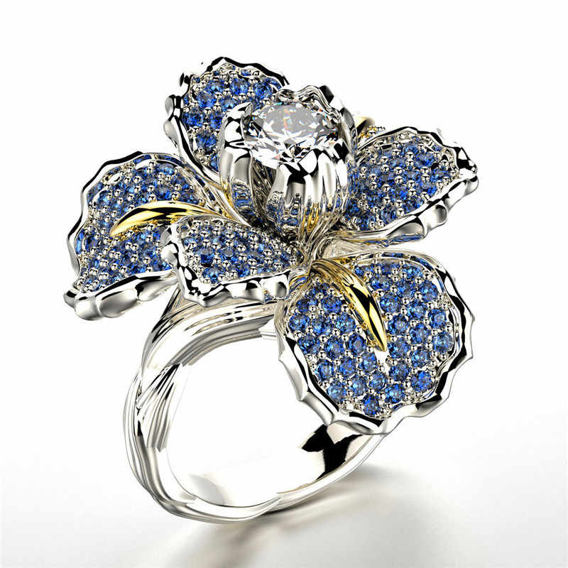 Luxury หญิงใหญ่ดอกไม้สีขาวสีขาวแหวนคริสตัล Zircon หมั้นแหวนเงินแหวนแต่งงานสำหรับผู้หญิง