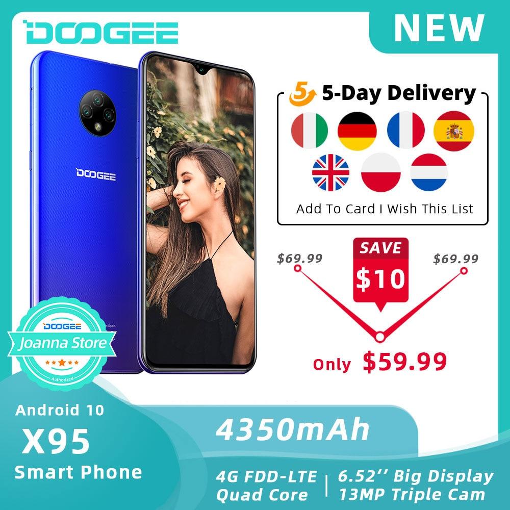 Doogee-teléfono inteligente X95, teléfono móvil con Android 10 os, 4G LTE, pantalla 6,52 pulgadas, procesador MTK6737, 16GB ROM, dual-sim, cámara Triple de 13.0mp, batería de 4350mAh
