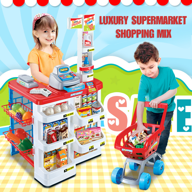 Checkout Counter Multifunctional Simulation Supermarket Combination Shopping Cart Parent-child Interactive Toys Toys Kids