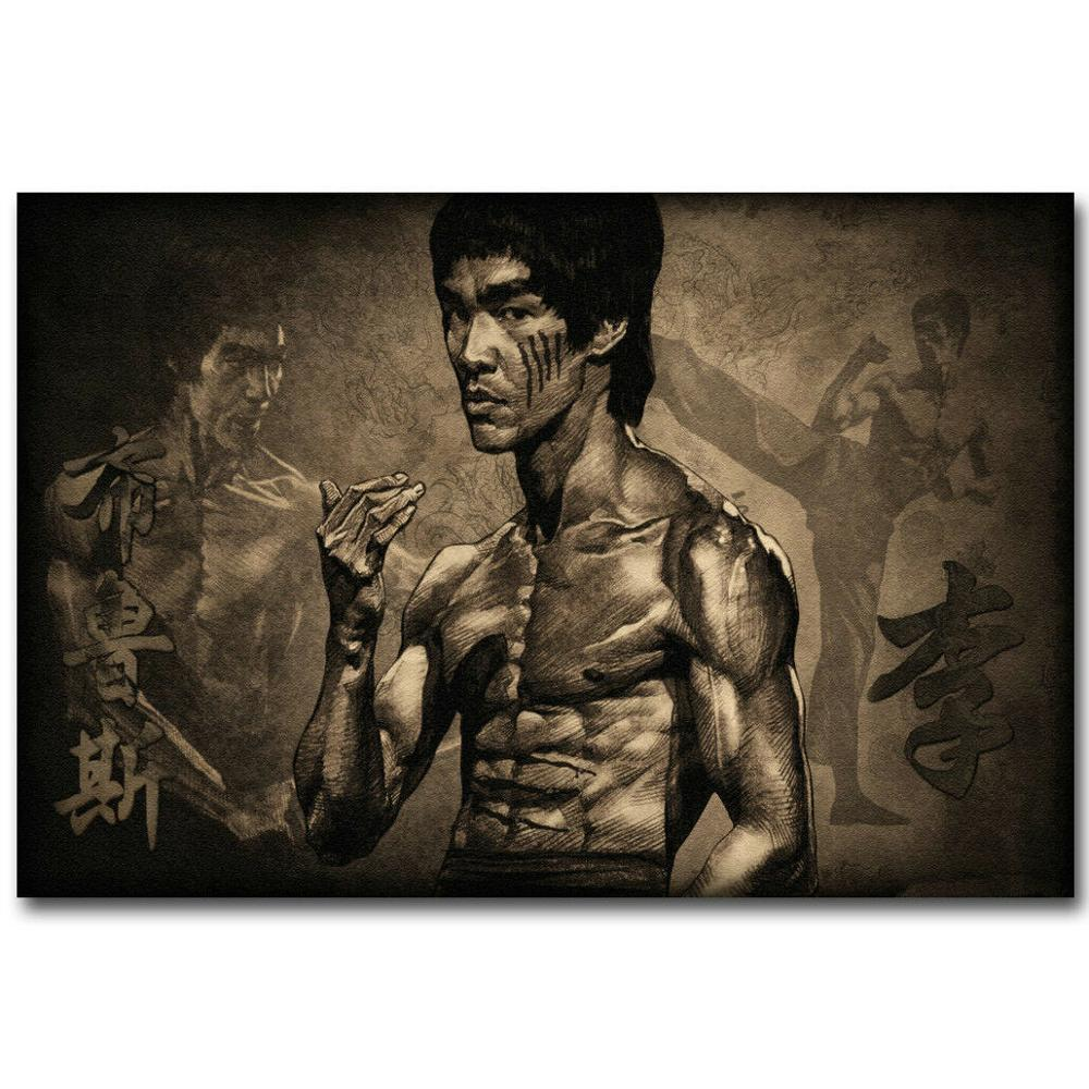L0086 Enter The Dragon Movie Bruce Lee Silk Fabric Poster Art Decor Indoor Painting Gift image