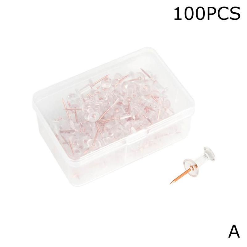 100pcs/pack Transparent Metal Rose Gold Push Pins Cork Plastic Pushpin Thumbtack Drawing Photo Wall Studs Office School Supplies