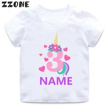 Custom Name Birthday T shirt Cute Unicorn Number 1-10 Cartoon Girls T-shirt Summer Baby Children Tops Funny Kids Clothes,HKP5399