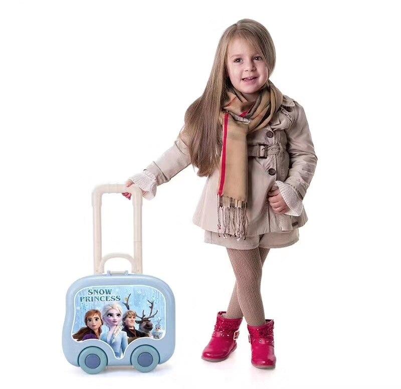 Frozen 2 Elsa Anna  Makeup Set  Disney Girls Multifunction Trolley Case Cosmetic Box Set Handbag Suitcase Kids Dressing Tab  Toy