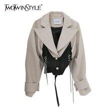 TWOTWINSTYLE-chaqueta con lazo de encaje para mujer, Tops cortos de manga larga con solapa, Ropa nueva de moda para mujer, otoño 2020