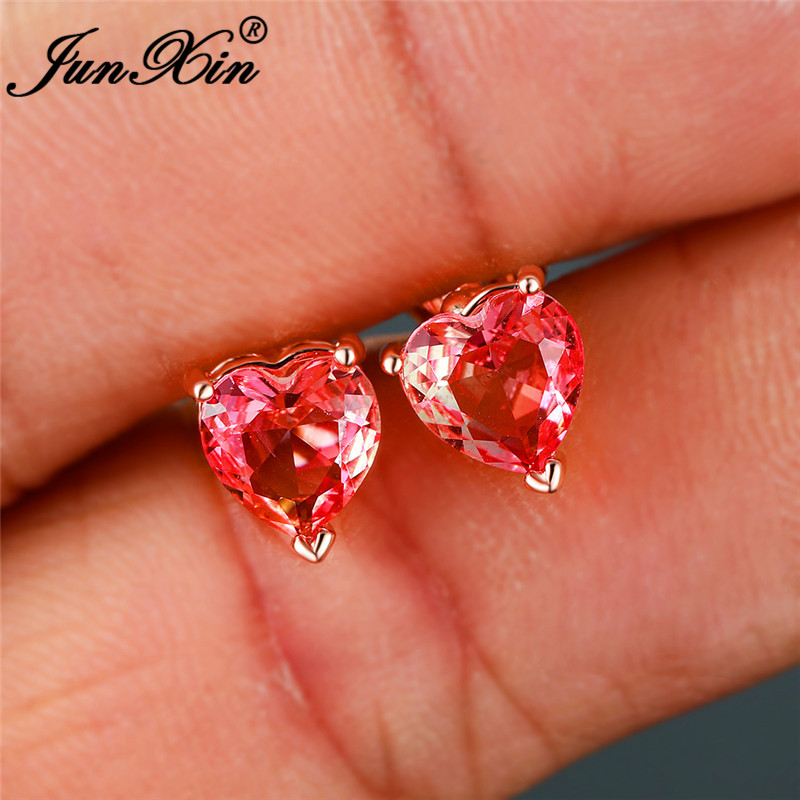 Cute Gradient Pink Yellow Two Tone Small Heart Earrings White Gold Rose Gold Rainbow Crystal Wedding Stud Earrings For Women Cz