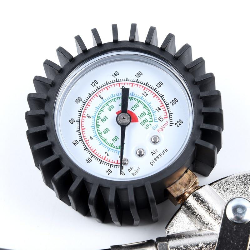 Dropshipping Auto Car Motorcycle Air Inflator Gun Pump Dial Pistol Pressure Guage 0 ~220psi