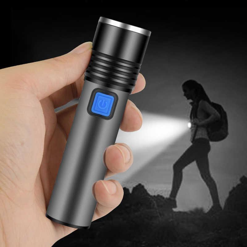 Mini T6 LED Senter Built-In Baterai Lithium 1200 M Ah Adaptor Isi Ulang 3 Mode Portable Torch Zoomable Lampu untuk Camping Berkendara