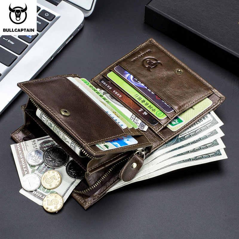 BULLCAPTAIN, nueva cartera de cuero para hombre, monedero de cuero, RFID, tarjetero de piel sin escanear, billetera de moda para hombre