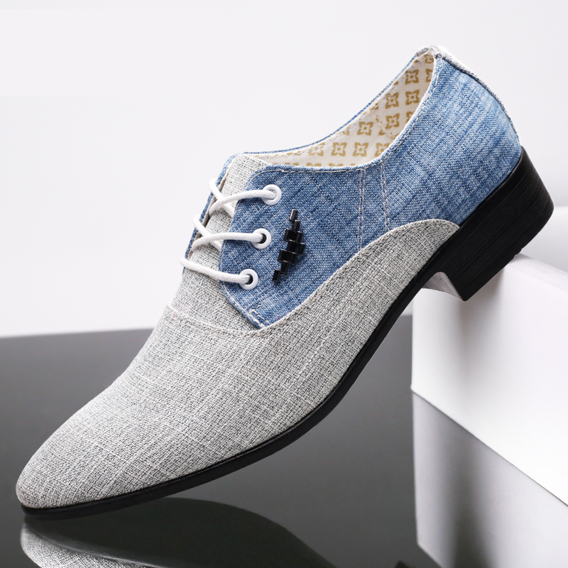 2020 New Fashion Hemp Mens Dress Shoes Oxford For Men Zapatos Hombre Male Italy Fabric Lace-up Sapato Social Mens Formal AF-14
