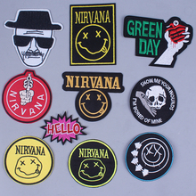 DIY Nirvana patches for clothing Punk Patch nirvana Embroidery patch Band sticker wholesale rock stripes in patches wholesale цена и фото