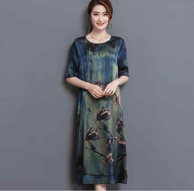 2020 Boho Zomer Midden Leeftijd Hoge Kwaliteit Zijde Print Jurk Vintage Elegante Grote Size Losse O-hals Vrouwen Jurk JR147