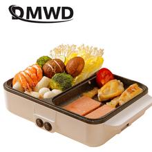 Wielofunkcyjna kuchenka elektryczna Mini Hotpot grill patelnia jajko omlet patelnia kuchenka naleśnik naleśnik ciasto pieczenia palarnia tanie tanio DMWD Ce ue Związek dno 1100-1300 w 220 v STAINLESS STEEL
