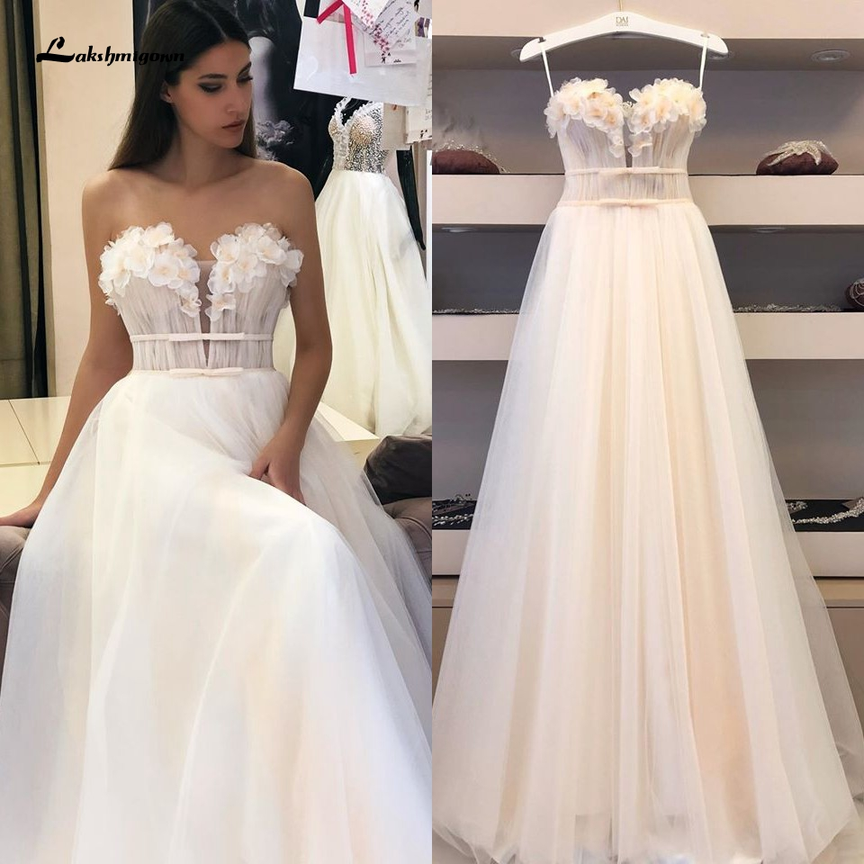 Off Shoulder Floral Wedding Dress A Line 2020 Robe Sexy Bridal Gowns Vestidos Simple Tulle Beach Wedding Dresses Custom Made