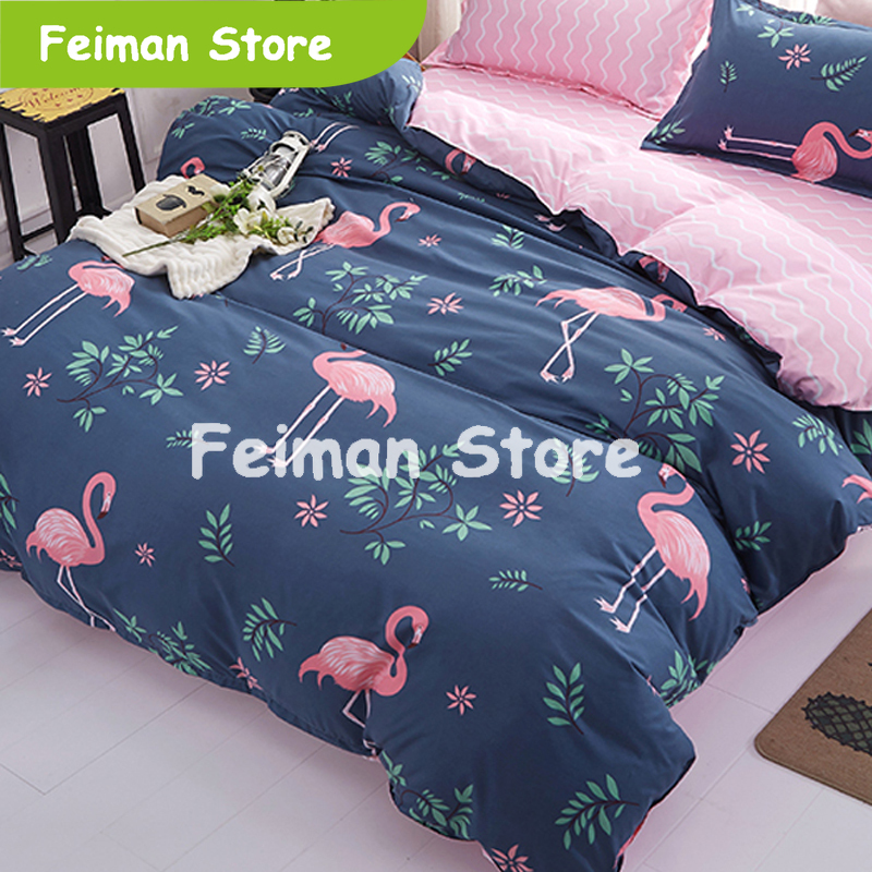 1PCS Duvet Cover 200*200 Bedding Quilt Blanket Comforter Cover Printing Single Double Queen King Customized 140*200cm Flamingo