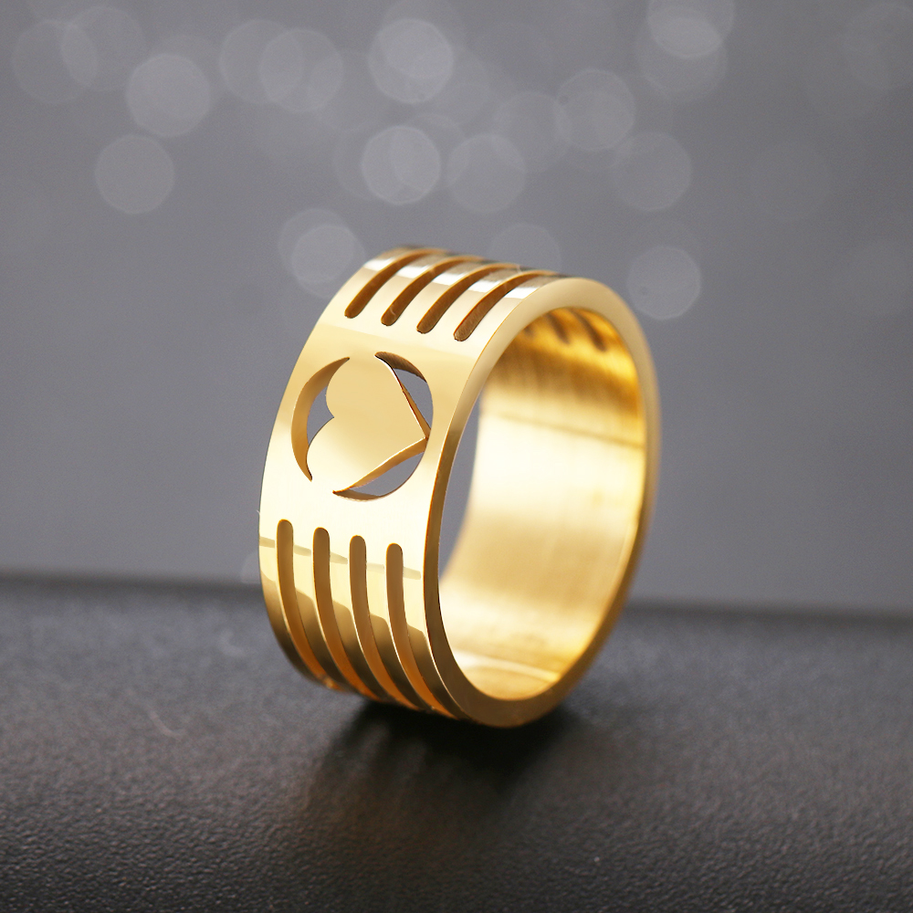 CACANA Hollowed-out Heart Shape Gold Ring Design Cute Fashion Love Stainless Steel Jewelry For Women Young Girl Child Gifts(China)